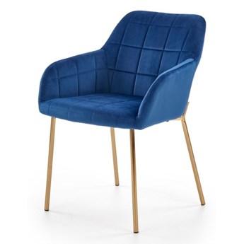 SELSEY Krzesło tapicerowane Meira na złotej podstawie granatowe