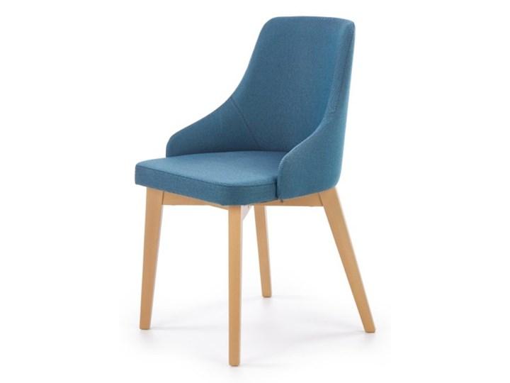SELSEY Krzesło tapicerowane Berlas niebieskie - dąb miodowy Tkanina Drewno Pomieszczenie Jadalnia