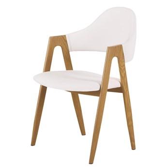 SELSEY Krzesło tapicerowane Sherris białe - dąb miodowy
