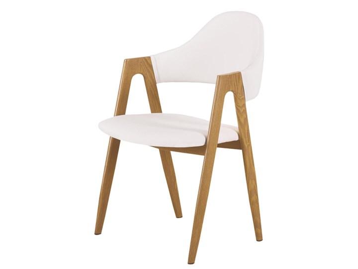 SELSEY Krzesło tapicerowane Sherris białe - dąb miodowy Skóra ekologiczna Drewno Metal Pomieszczenie Jadalnia Tkanina Kolor Biały