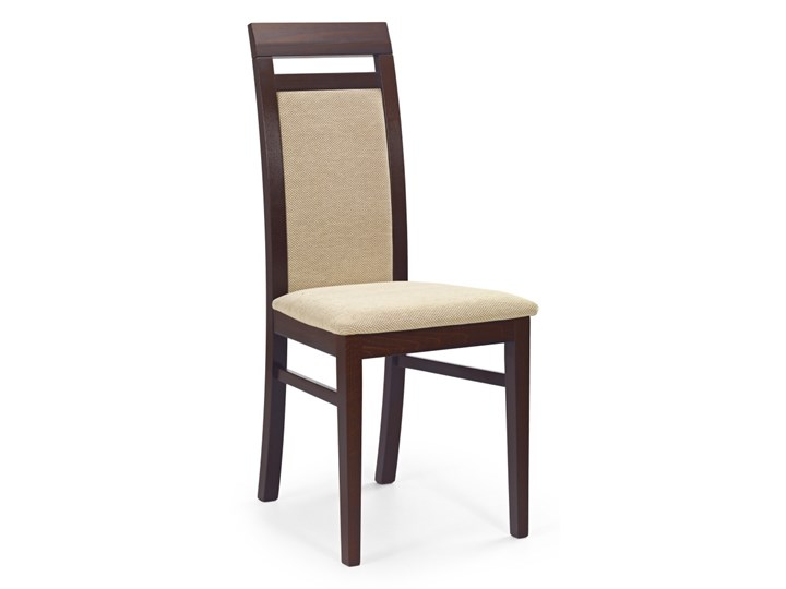 SELSEY Krzesło Kadiana ciemny orzech - beż Tkanina Tapicerowane Drewno Kategoria Krzesła kuchenne
