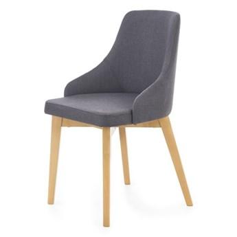 SELSEY Krzesło tapicerowane Berlas ciemnoszare - dąb miodowy