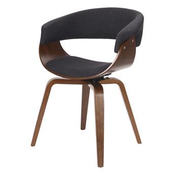 SELSEY Krzesło tapicerowane Asarlo czarne na orzechowych nogach