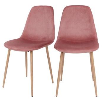 SELSEY Zestaw dwóch krzeseł tapicerowanych Iger różowe na brązowych nogach