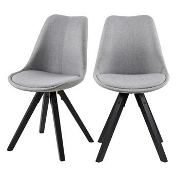 SELSEY Zestaw dwóch krzeseł tapicerowanych Djum szaro - czarne
