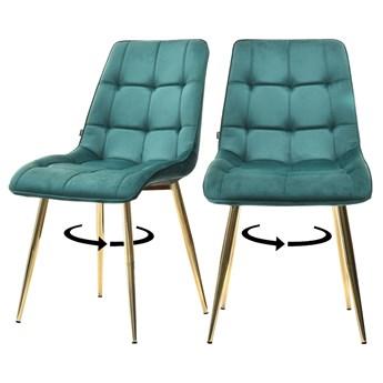 SELSEY Zestaw dwóch krzeseł  tapicerowanych Briare zielone na złotej podstawie obrotowe