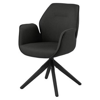 SELSEY Krzesło tapicerowane z podłokietnikami Lorea z funkcją auto-return ciemnoszare na czarnych nóżkach