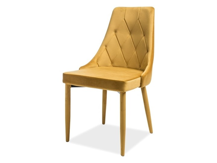SELSEY Krzesło tapicerowane Cornido miodowy welur Tkanina Krzesło inspirowane Pikowane Metal Styl Nowoczesny