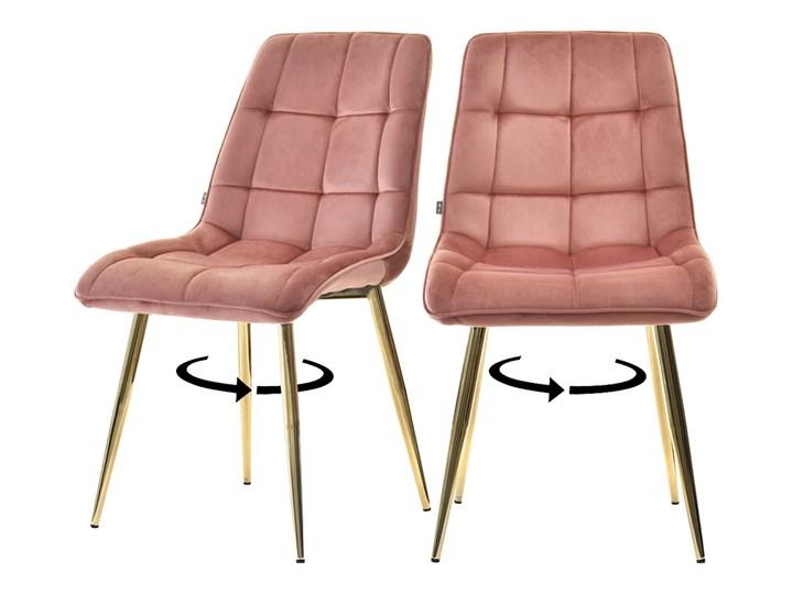 SELSEY Zestaw dwóch krzeseł tapicerowanych Briare różowe na złotej podstawie obrotowe Tkanina Głębokość 60 cm Głębokość 43 cm Wysokość 87 cm Pikowane Tapicerowane Tworzywo sztuczne Szerokość 48 cm Metal Wysokość 50 cm Kolor Różowy