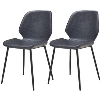 SELSEY Zestaw dwóch krzeseł tapicerowanych Rablart szara ekoskóra