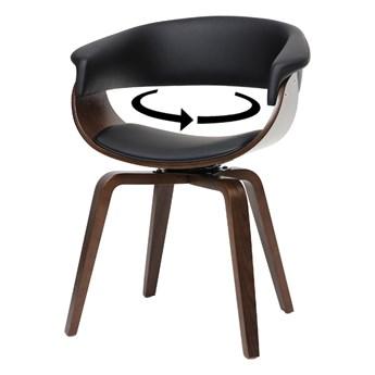 SELSEY Krzesło tapicerowane Asarlo czarna ekoskóra na orzechowych nogach