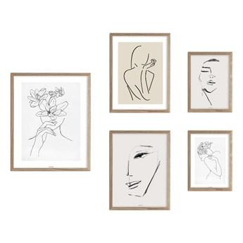 SELSEY Galeria pięciu obrazów na ścianę Droose z wyborem ramy