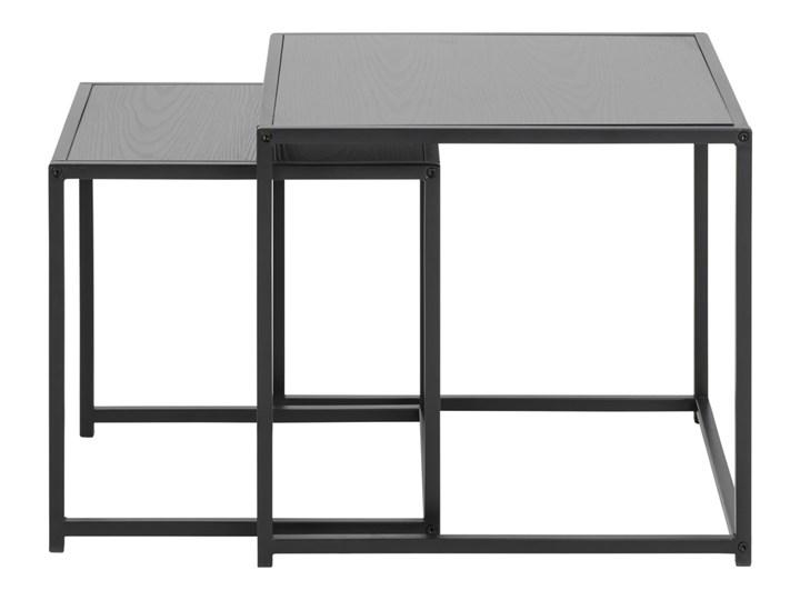 SELSEY Zestaw dwóch stolików kawowych Krapina 50x50 cm i 45x45 cm szare Zestaw stolików Metal Płyta MDF Kształt blatu Kwadratowe