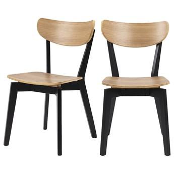 SELSEY Zestaw dwóch krzeseł Gemirro dąb z czarnymi nóżkami