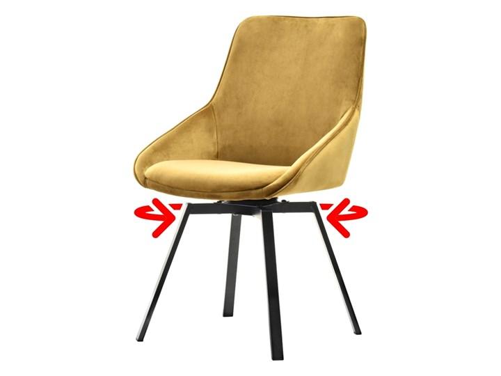SELSEY Krzesło tapicerowane Yanii z podłokietnikami złote na czarnej podstawie Tkanina Styl Nowoczesny Z podłokietnikiem Krzesło inspirowane Metal Kolor Złoty