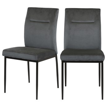 SELSEY Zestaw dwóch krzeseł tapicerowanych Todiar ciemnoszare