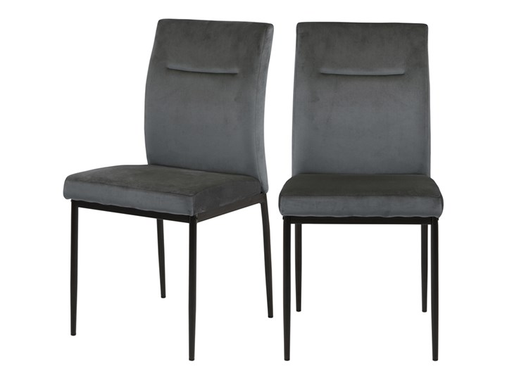 SELSEY Zestaw dwóch krzeseł tapicerowanych Todiar ciemnoszare Krzesło inspirowane Tkanina Metal Tapicerowane Styl Nowoczesny Pomieszczenie Jadalnia