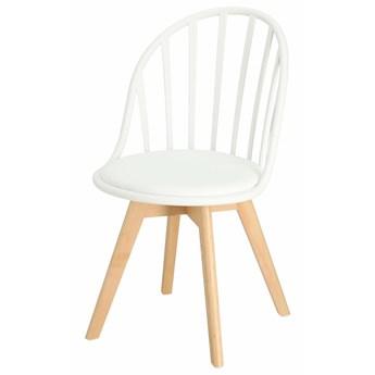 SELSEY Krzesło Taddeus białe z siedziskiem z ekoskóry na drewnianych nogach