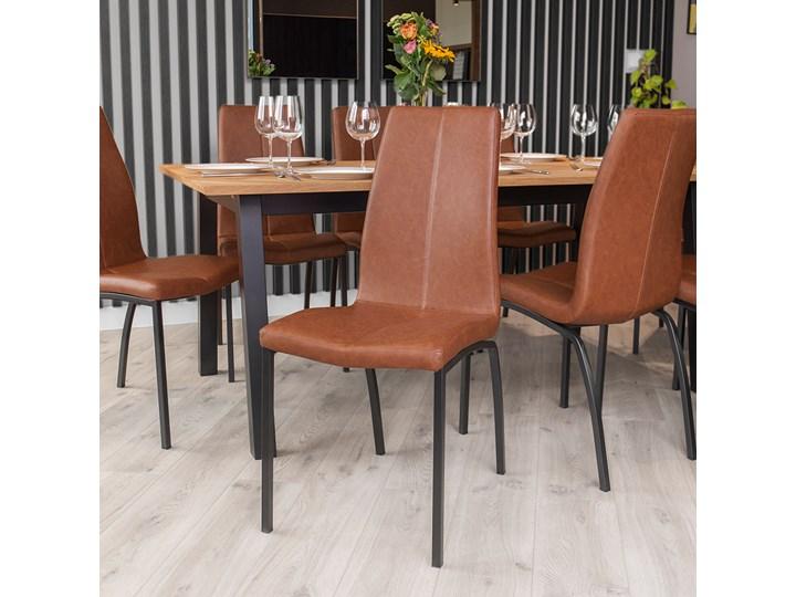 SELSEY Zestaw dwóch krzeseł tapicerowanych Zagorac brązowe Skóra Tapicerowane Skóra ekologiczna Tkanina Metal Styl Nowoczesny