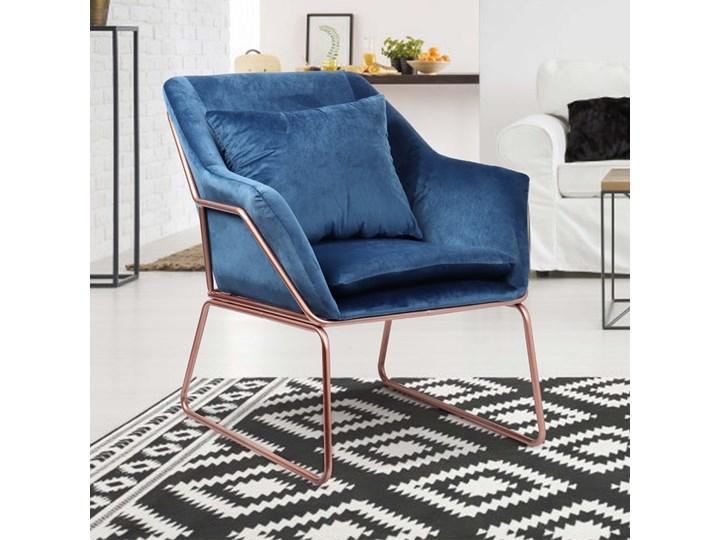 SELSEY Fotel Tale kubełkowy granatowy na podstawie w kolorze różowego złota Fotel inspirowany Szerokość 70 cm Tkanina Kategoria Fotele do salonu Kolor