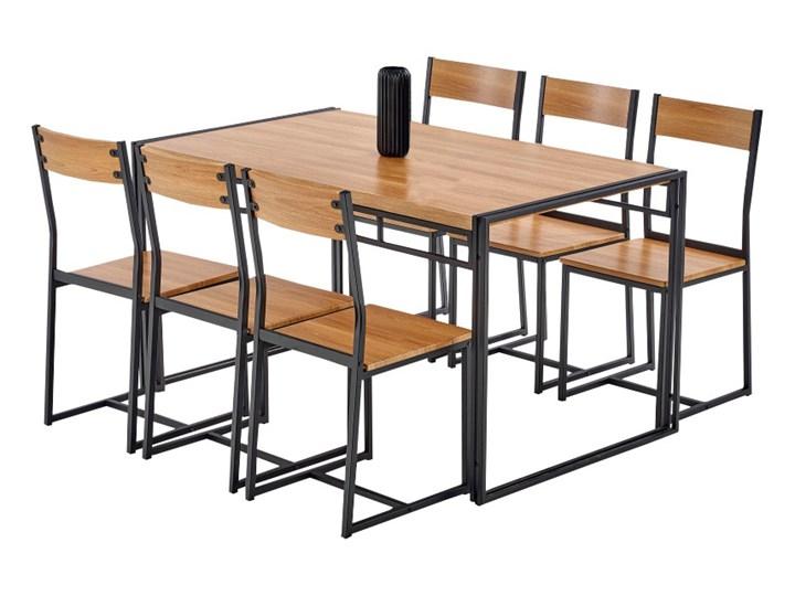 SELSEY Stół z krzesłami Shazam dąb złoty - czarny Liczba krzeseł 6 krzeseł