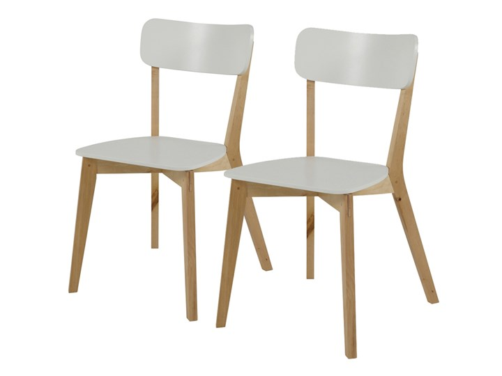 SELSEY Zestaw dwóch krzeseł Jazina białe Drewno Płyta MDF Tradycyjne Styl Skandynawski