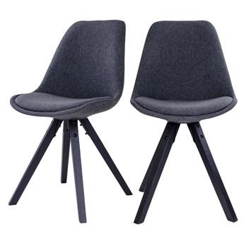 SELSEY Zestaw dwóch krzeseł tapicerowanych Umbreta ciemnoszare na czarnej podstawie