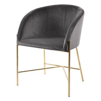 SELSEY Krzesło tapicerowane Ribioc szary welur na złotych nogach