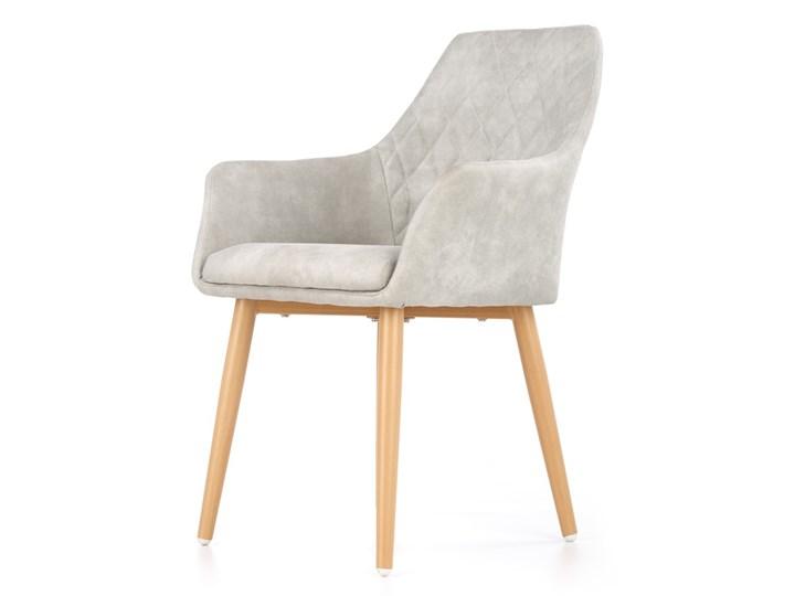 SELSEY Krzesło tapicerowane Moita ecoskóra szare Tworzywo sztuczne Tkanina Drewno Z podłokietnikiem Skóra ekologiczna Pikowane Stal Metal Styl Nowoczesny Pomieszczenie Jadalnia