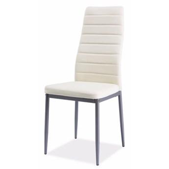 SELSEY Krzesło tapicerowane Lastad kremowe na satynowej podstawie