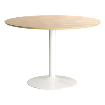 SELSEY Stół do jadalni okrągły Balsamita średnica 110 cm dąb na białej nodze