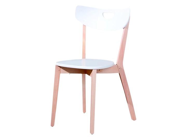 SELSEY Krzesło Batino białe z wyprofilowanym oparciem Krzesło inspirowane Pomieszczenie Jadalnia Drewno Płyta MDF Kolor Biały