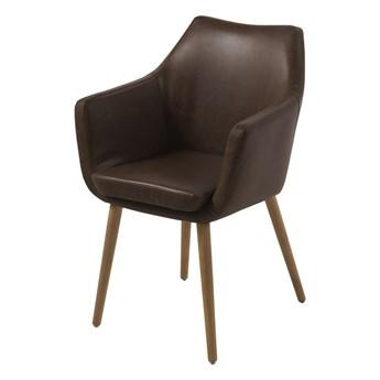 SELSEY Krzesło tapicerowane Marcelio ciemny brąz