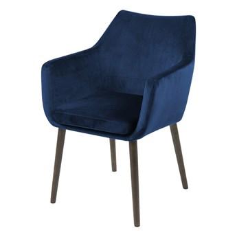 SELSEY Krzesło tapicerowane Marcelio granatowo - brązowe