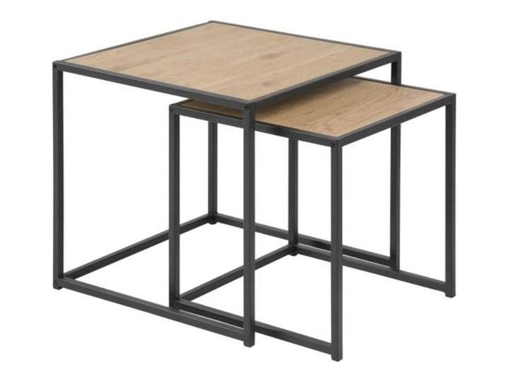 SELSEY Zestaw dwóch stolików kawowych Seaford dąb - czarny Płyta MDF Wysokość 45 cm Beton Kategoria Stoliki i ławy Drewno Metal Zestaw stolików Styl Nowoczesny