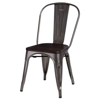 SELSEY Krzesło Paris Wood metaliczne - sosna szczotkowana