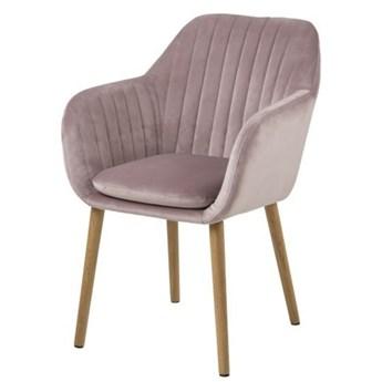 SELSEY Krzesło tapicerowane Elidi pastelowy róż tapicerowane