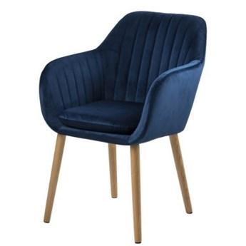 SELSEY Krzesło tapicerowane Elidi granatowe tapicerowane