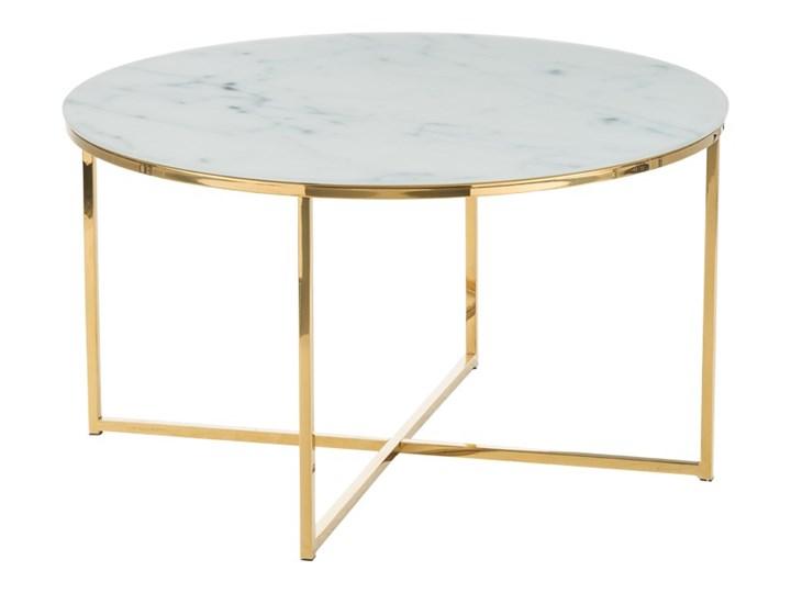 SELSEY Stolik kawowy Alisma o średnicy 80 cm - złota podstawa Metal Wysokość 45 cm Kształt blatu Okrągłe Szkło Marmur Kategoria Stoliki i ławy
