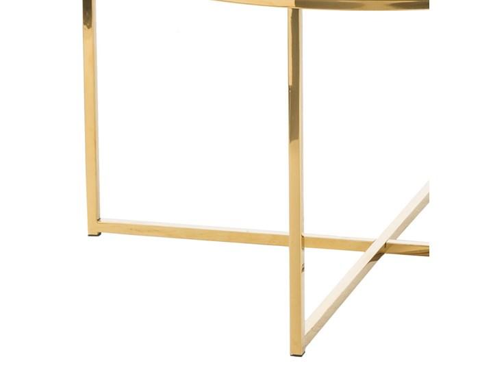 SELSEY Stolik kawowy Alisma o średnicy 80 cm - złota podstawa Szkło Metal Wysokość 45 cm Kolor Złoty Marmur Kształt blatu Okrągłe
