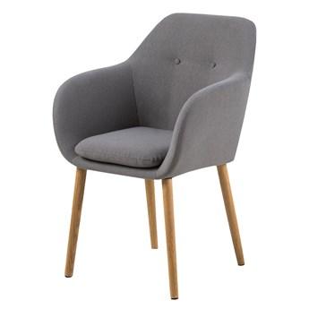 SELSEY Krzesło tapicerowane Enisa szare na drewnianych nogach