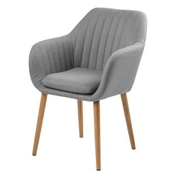 SELSEY Krzesło tapicerowane Enyf szare jasne na drewnianych nogach