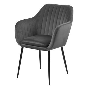 SELSEY Krzesło tapicerowane Elidi szare ciemne na metalowych nogach