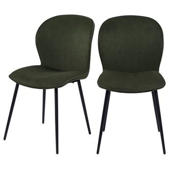 SELSEY Zestaw dwóch krzeseł tapicerowanych Redpoll oliwkowe