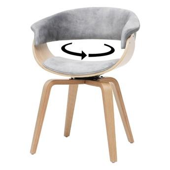 SELSEY Krzesło tapicerowane Asarlo szary welur na klonowych nogach
