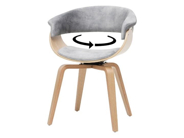 SELSEY Krzesło tapicerowane Asarlo szary welur na klonowych nogach Kategoria Krzesła kuchenne Płyta MDF Tkanina Drewno Styl Nowoczesny