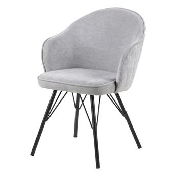 SELSEY Krzesło tapicerowane Evanthen szare z pikowaniem karo na metalowych nóżkach