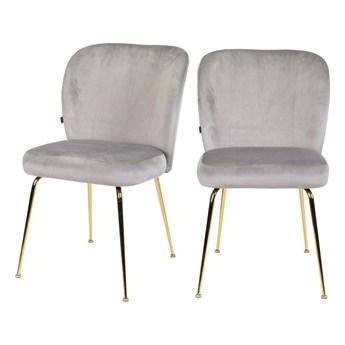 SELSEY Zestaw dwóch krzeseł tapicerowanych Alruba szare na złotych nogach