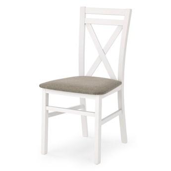 SELSEY Krzesło Milares białe z beżowym tapicerowaniem