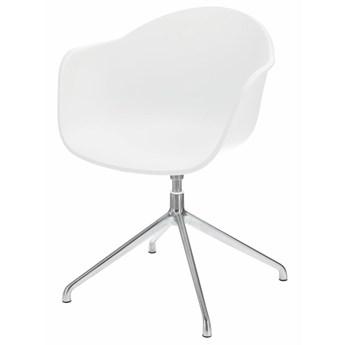 SELSEY Krzesło obrotowe Thiagie białe z aluminiową podstawą